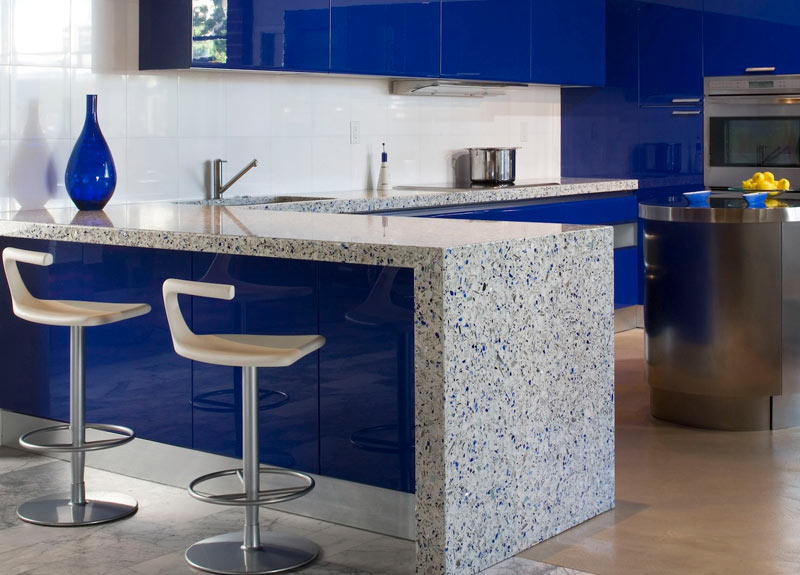 Blue-Kitchen-Recycled-Countertops-EcowiseRemodeler