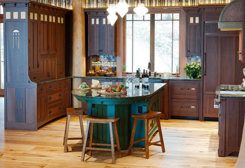 Dark-Wood-Cabinets-Kitchen-Island-Stools-Crown-Point