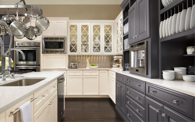 wood kitchen cabinets two colors omega cabinetry