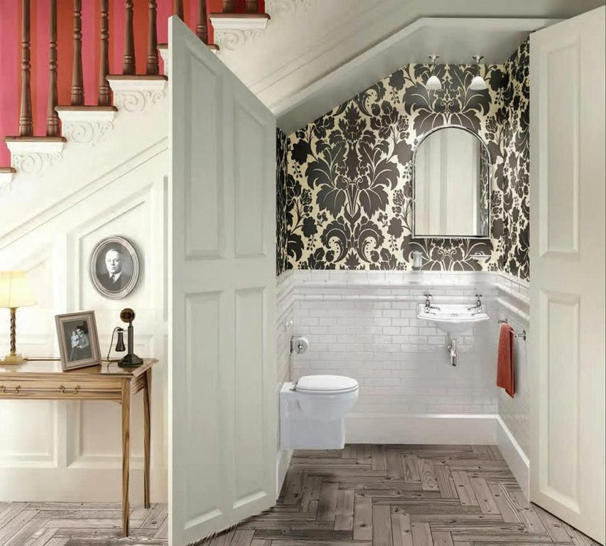 Traditional-Powder-Room-Bathroom-Wallpaper-Zillow