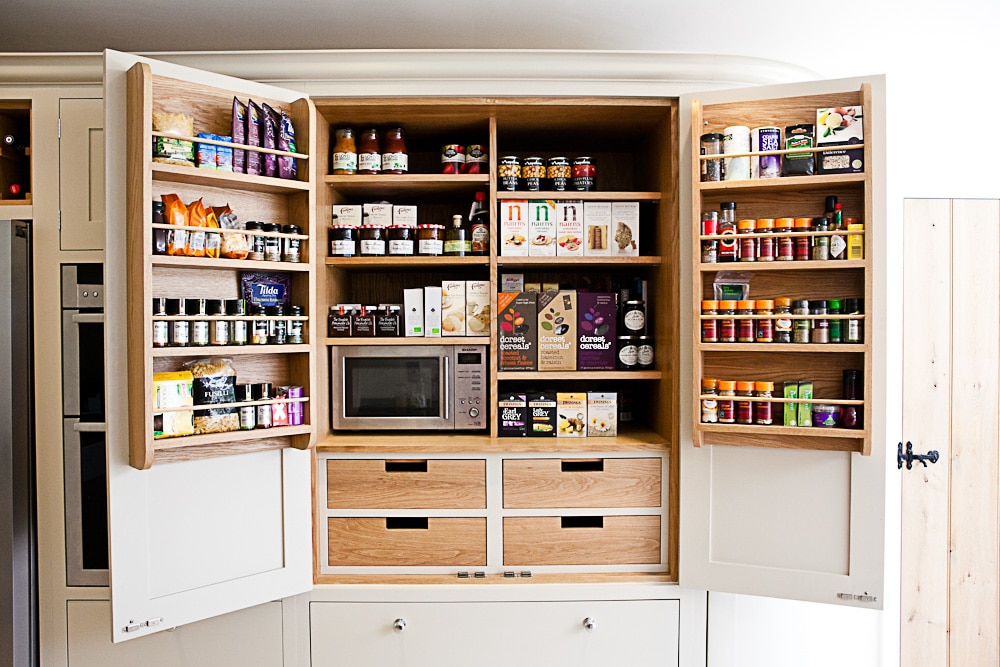 Kitchen Pantry Organization Maple and Gray