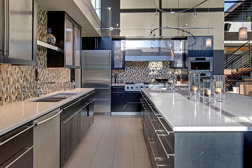 U-Shaped-Kitchen-Dark-Cabinets-McClellan-Architects