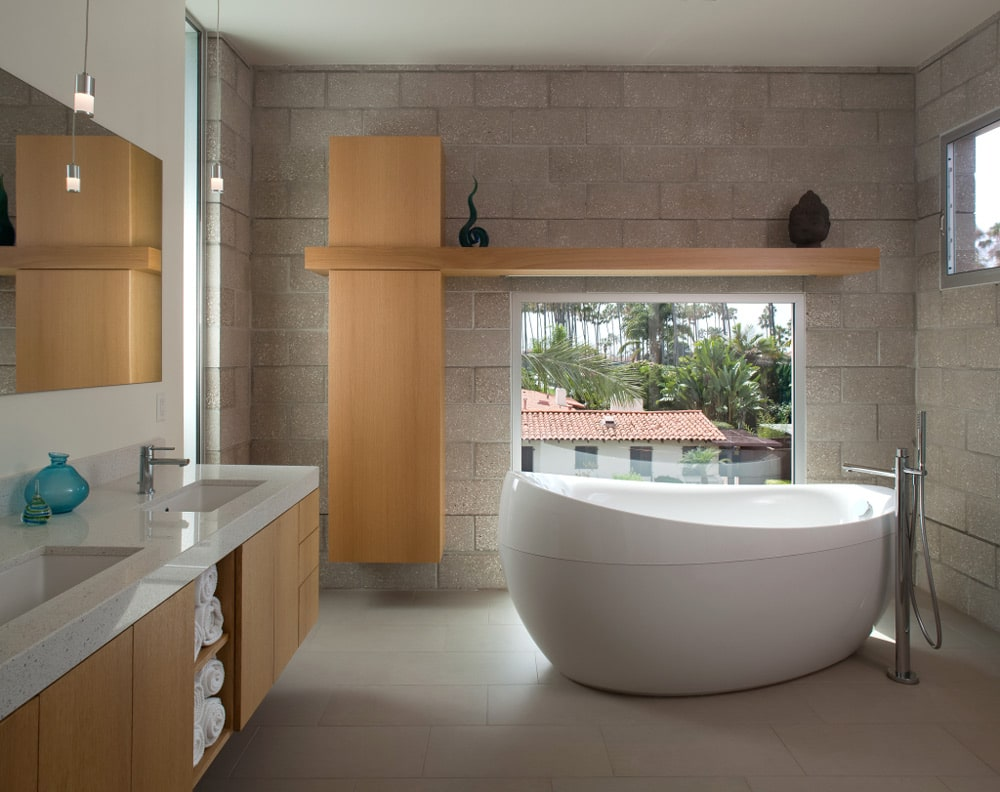 asian style bathroom freestanding bathtub domus studio