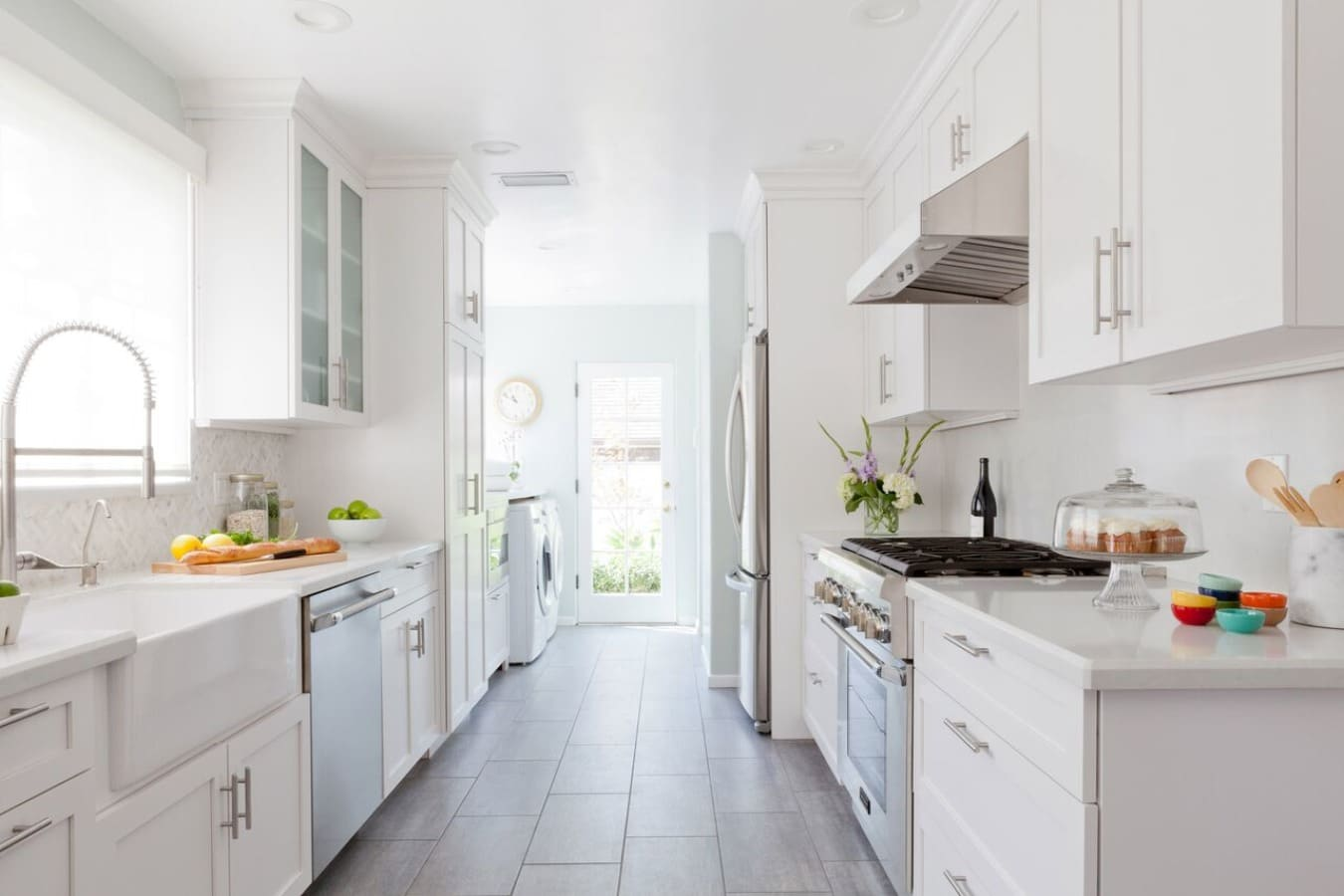 All White Galley Kitchen