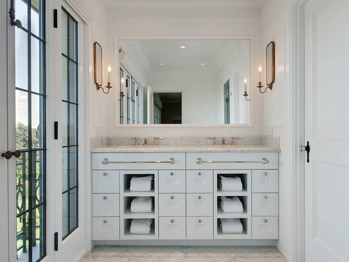 Custom Dual Sink Vanity Towel Cubbies Stuart Silk Architects