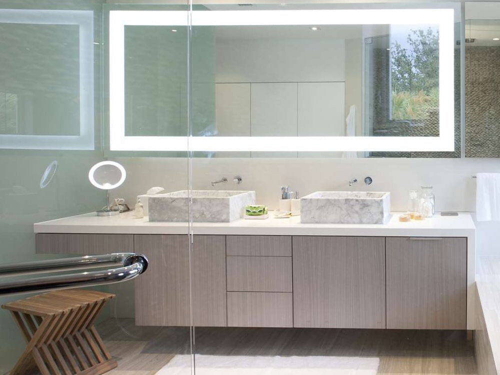 Bathroom Vanity With Seating And Waterfall Leg
