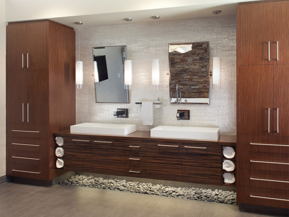 21 bathroom vanities and storage ideas for Floating bathroom cupboards