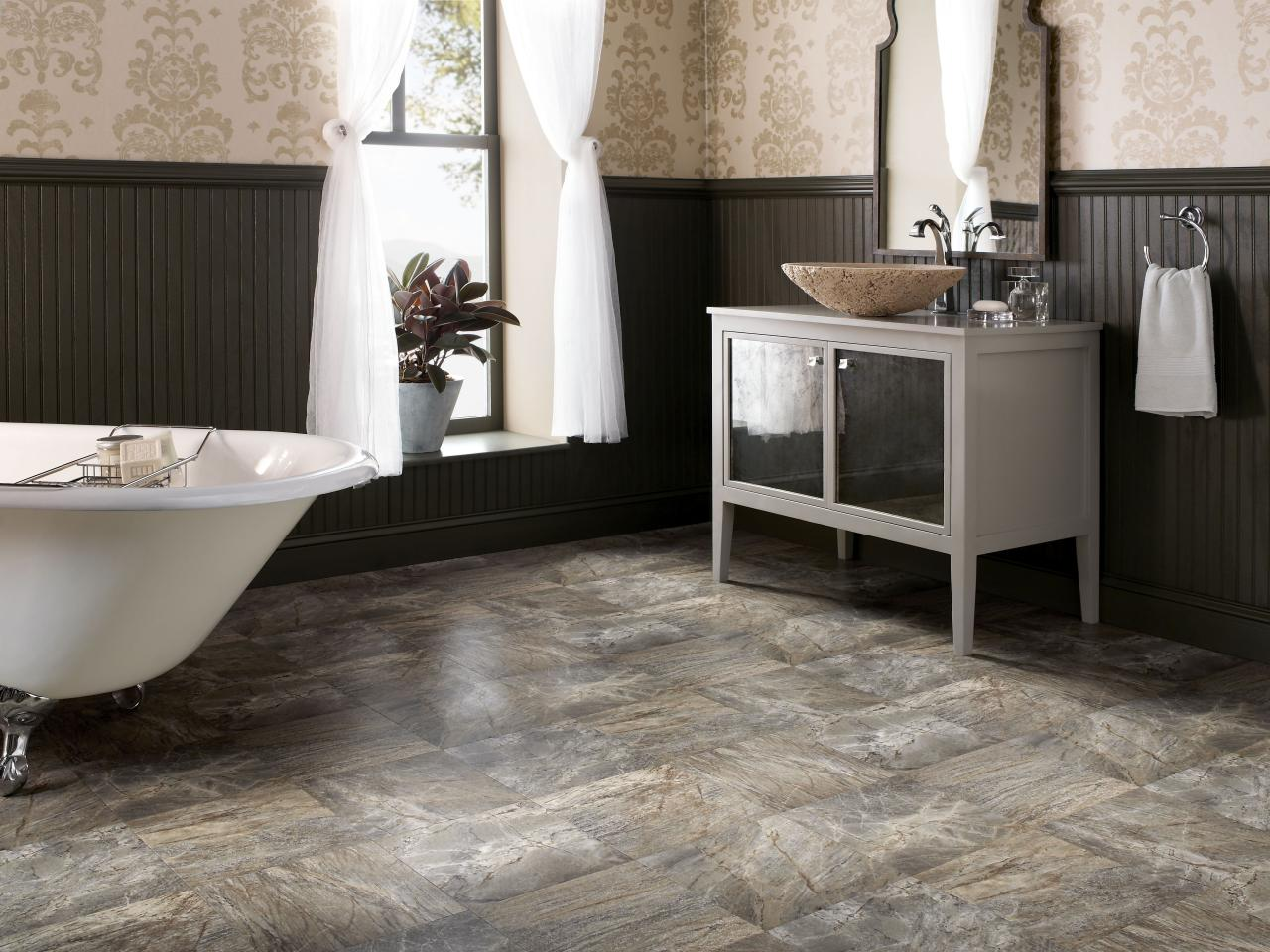 Bathroom flooring options for Warm feel bathroom floor tiles