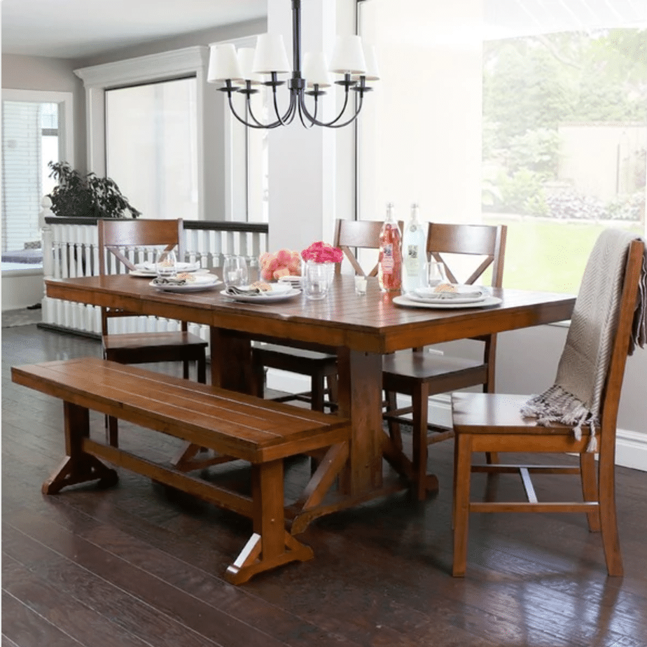 7 rustic dining tables for Dining room furniture benches ideas