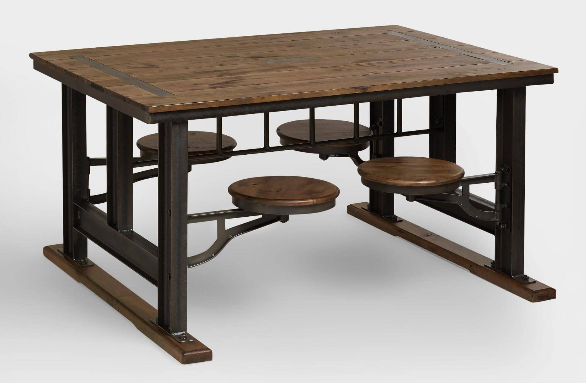 Rustic Table with Built-In Seating Galvin Cafeteria