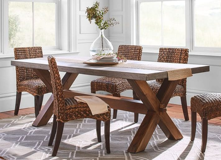 Rustic Dining Tables - Pottery barn concrete dining table